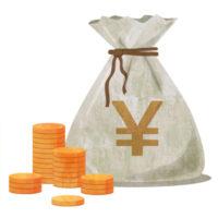 袋にたっぷりと入ったお金(円)の無料イラストです。