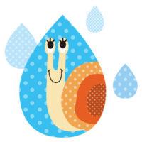 かたつむりを雨のしずくの中に閉じ込めたおしゃれな無料イラストです。