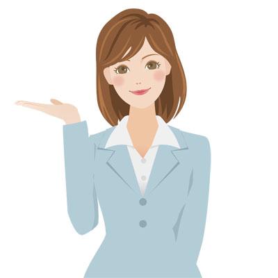 ご案内をしている、グレーのスーツを着た若い女性の無料イラストです。