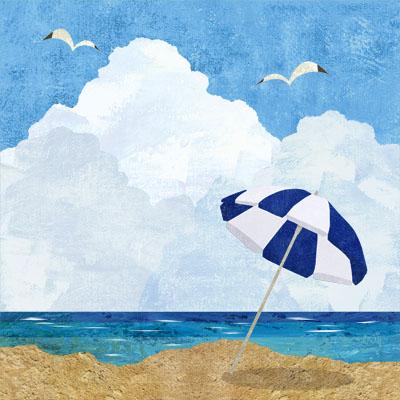 海とビーチパラソルのイラスト