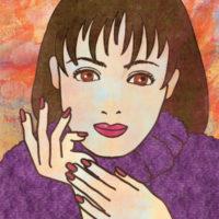 紫のセーターの女性のイラスト