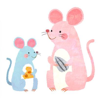 ピンクとブルーの親子のねずみのイラストです
