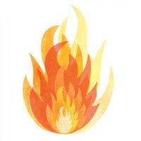 メラメラと燃え盛る炎のイラスト