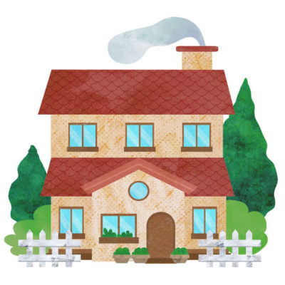 赤い屋根の2階建ての家のイラストです。