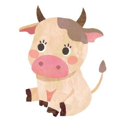 お座りしているキュートな子牛のイラストです。