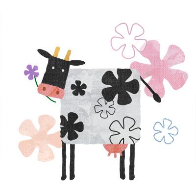花柄のおしゃれな牛のイラストです。