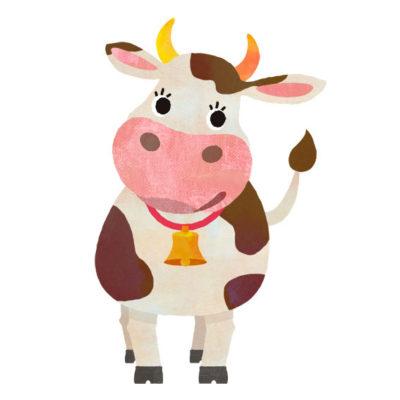 立ポーズのキュートな牛のイラスト