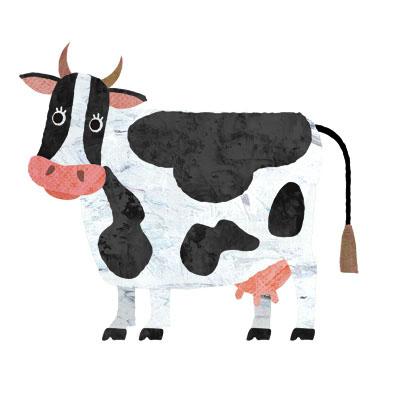 のんびりしてる牛の背景無しイラストです