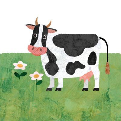 牧場でのんびりしてる牛のイラストです。