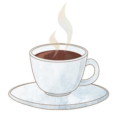 白いカップとソーサーのホットコーヒーの無料イラストです。