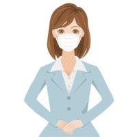 マスクをしている、グレーのスーツを着た若い女性の無料イラストです。