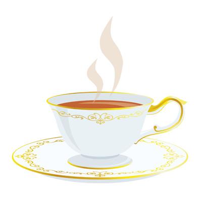 オシャレなカップに入った熱い紅茶の無料イラストです。