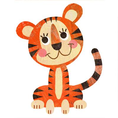 キュートでおしゃれな虎のイラストです。
